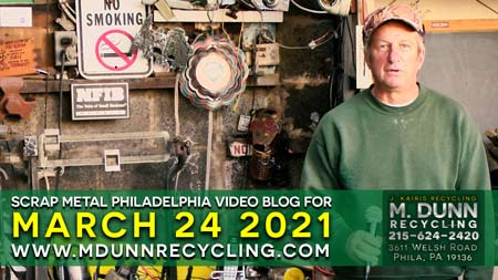 Philadelphia Scrap Metal Prices for March 24, 2021 Video Blog for M Dunn Recycling.3611 Welsh Road Northeast Philadelphia 19136 19149 Bring in your scrap for cash. Bring in Aluminum Cans, Old Lead Batteries, Scrap Romex Wire, Brass, Copper, Stainless Steel, Aluminum Siding, Aluminum Sheet